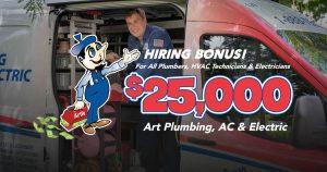art plumbing hiring bonus